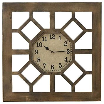 "Square 20"" Gate Iron and Glass Wall Clock by Park Designs"