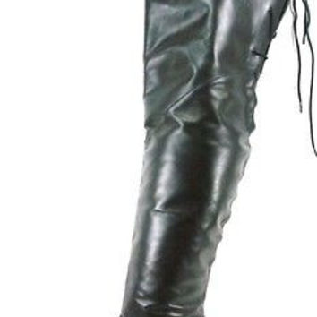 Rodeo 8822 Genuine Black Cow Leather Thigh High Boot Sizes 11 & 14 Cowboy Pirate
