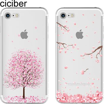 ciciber Romantic Japan Sweet Cherry Blossom Cat Soft Silicon Phone Cases Cover for IPhone 6 6S 7 8 Plus 5S SE X Coque Fundas