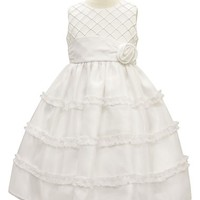 Girl's Sorbet Diamond Pleated Satin & Organza Dress