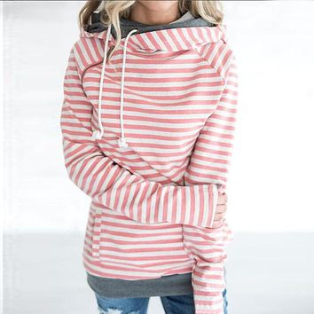Women Patchwork Striped Pullover Double Hood Hoodie Sweatshirt With Pockets