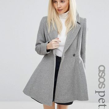 ASOS PETITE Skater Coat in Wool Blend With Oversized Collar and Self Belt at asos.com