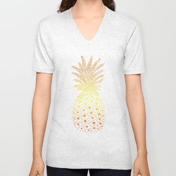 Golden Pineapple Stars Unisex V-Neck by ES Creative Designs