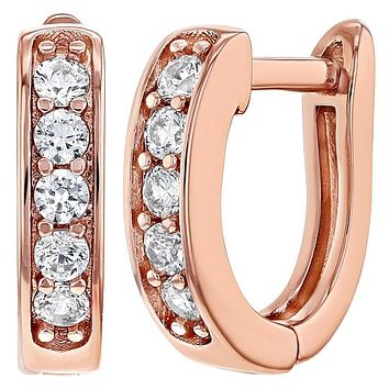 Rose Gold Plated Clear Cubic Zirconia Huggie Earrings for Women 12mm