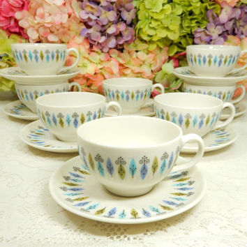 8 Syracuse Nordic Carefree True China Cups & Saucers Retro Mid Century Modern