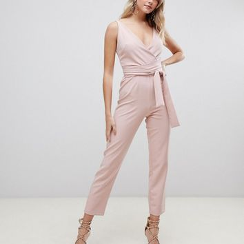 ASOS DESIGN wrap front jumpsuit with peg leg and self belt | ASOS