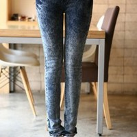 Korean Stylist Blue Young Pencil Jeans  : Wholesaleclothing4u.com