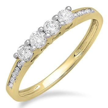 CERTIFIED 0.50 (ctw) Carat 14K Yellow Gold Round Diamond Wedding Band Ring 1   9d23dcccd701