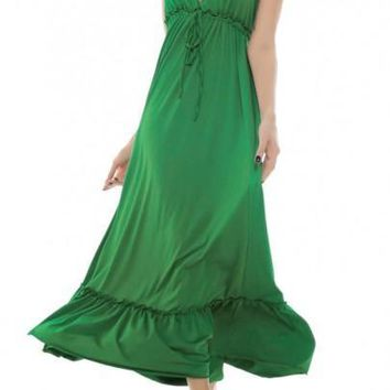 Green Drawstring Backless Tie Back Halter Neck Bohemian Beach Maxi Dress