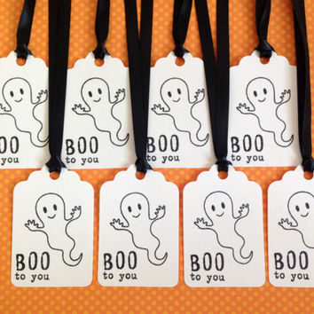 Halloween Tags - Happy Halloween Gift Tag Set of 8 - Ghost Tags - Boo Halloween Tags - Halloween Party Favor Tags - Halloween Treat Tags