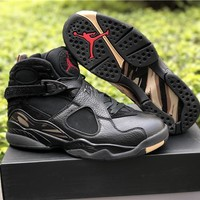 Air Jordan 8 Retro OVO Black/Gold Men Basketball Sneakers Sports Shoes