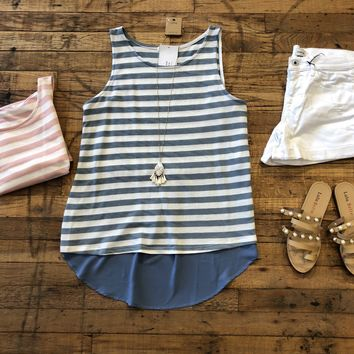 Kennebunkport Tank in Pink and Blue