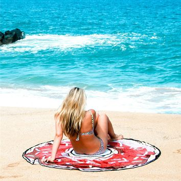 Donut Beach Mat Cover Up with Fringe