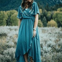 "the ""Morgan"" Maxi Wrap Dress - Kale"