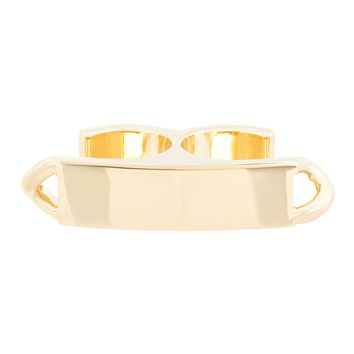 Maison Martin Margiela Gold I.d. Plaque Double Ring