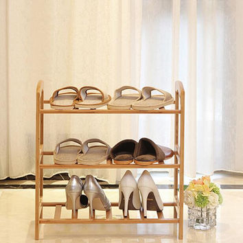 New Bamboo Material Multilayered Shoe Rack Simple and Easy Shoe Cabinet Creative Storage Rack