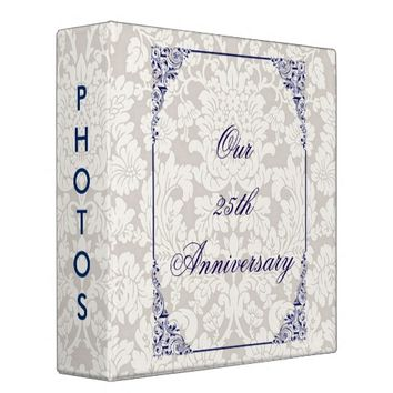 Damask and Navy Flourish Border Anniversary Album Binder