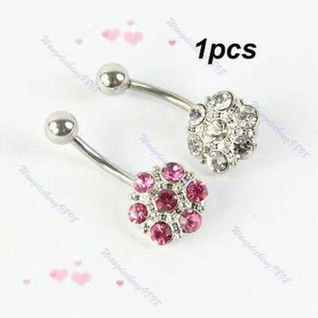 ac ICIKO2Q 1pcs Crystal Rhinestone Double Color Belly Navel Button Bar Ring Body Piercing