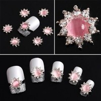 Yesurprise Pink Flower Crytal 10 pieces Silver 3D Alloy Nail Art Slices Glitters DIY Decorations