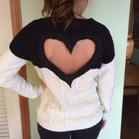 Heart Back Black/Cream Cable Sweater Heart cut out sweater colorblock Black/Cream Great Valentine gift!