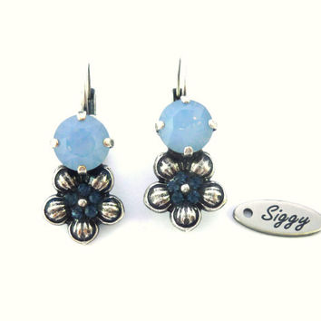 Swarovski crystal and daisy drop earrings-  air blue opal, GREAT PRICE,  gift idea, Siggy bling