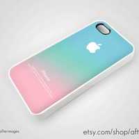 Pastel iPhone 5 Case iPhone 4 4S New Apple Logo Pink Aqua Teal Pastel Ombre Silicone