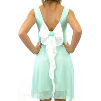 Summer Daze Bow Back Tank Dress Mint & White
