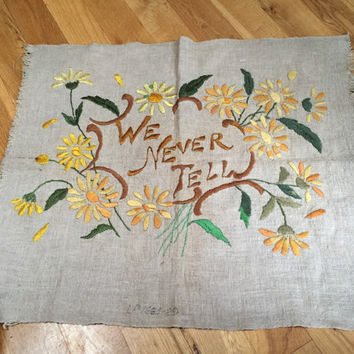 We Never Tell - Mysterious Embroidered Canvas Burlap Frameable Textile Wall Art Fabric Swatch Yellow Orange Daisies Prairie Vintage Craft
