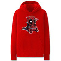 Marvel Spideypool Deadpool Spiderman Pullover Fleece Hoodie