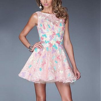 [99.99] Charming Lace & Organza & Tulle Jewel Neckline Short A-line Homecoming Dress - Dressilyme.net