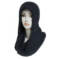 """Simply Adorable"" Classic Crochet Charcoal Hooded Infinity Scarf"