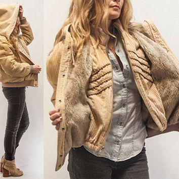 Womens Tan Corduroy Fur Bomber Jacket By From Classic Rock