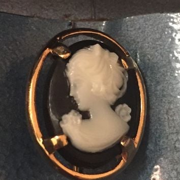 Vintage Cameo Brooch 1960's Napier Costume Jewelry Hat Pin