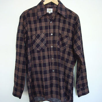 Vintage Men's Shirt / Black & Brown Flannel / 1990s Grunge / Unicorn / Size Large L