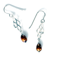 Chocolate rain drop pearl earrings with 4 pretty drip drop clusters handmade in solid sterling silver wire and real brown freshwater pearls