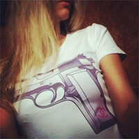 Sexy Summer Fashion White Round Neck Long Sleeve Gun Print Pullover Sweatshirt Top T-shirt = 1956829956