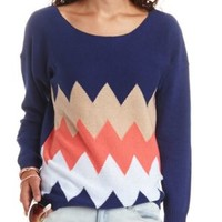 Scoop Neck Chevron Pullover Sweater - Navy Blue Cmb