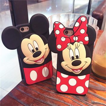 Cute 3D Cartoon Minnie Mickey Mouse Soft Silicone Case For Apple iPhone 6 6s 6S Plus 7 8 Plus 5s 4s Back Cover