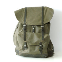 SWISS ARMY BACKPACK 1980s, Military Leather & Rubberised Waterproof Canvas Bag, Fishing, Large Rugged Men's Rucksack from Switzerland