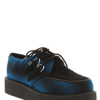 T.U.K. Blue & Black Wooly Plaid Low Sole Creepers | Hot Topic