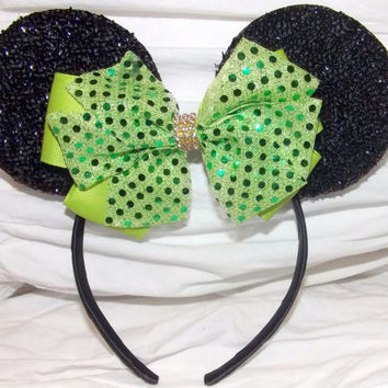 MINNIE MOUSE EARS Headband Black Sparkle with lime green color bow accented with faux diamond  luxury summer edition