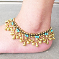 Blue Peacock Ankle Bracelet- Ring Ring Bell Turquoise Beaded Brass Bead Anklet