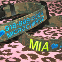 Dog Collar - Adjustable and Personalized - available in any color / military camo, Marines/Navy/Army/CG/USAF - petlover! Big or small dogs!