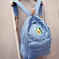 Avocado Denim Embroidery Backpack