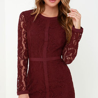 Sweet as Sugar Burgundy Long Sleeve Lace Dress