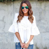 Patchwork Lace Tops Summer White T-shirts Loudspeaker [11405240527]