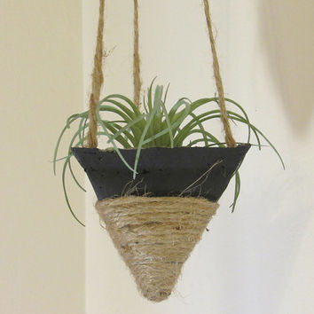Concrete Planter, Hanging Succulent Pot, Modern Geometric Planter, Air Plant Holder, Indoor Office Planter, Home Decor, Black Jute Twine