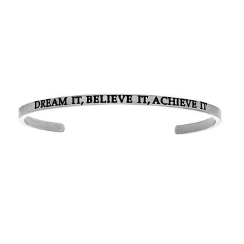 Intuitions Stainless Steel DREAM IT BELIEVE IT ACHIEVE IT Diamond Accent Cuff Bangle Bracelet