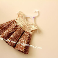 Pattern Crochet Yoke Fabric Dress Sewing Girls Baby Newborn Toddler Dewdrops Summer fashion No: 211