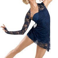 Weissman | Lace Sleeve Short Draped Unitard